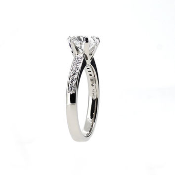 GIA-certificated 1.34ct H-Vs2 Diamond solitaire engagement ring made from Platinum, diamond engagement ring, vintage style, unique, custom