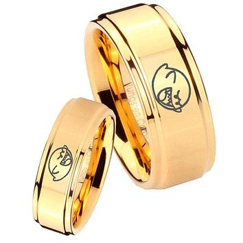 His Her Glossy Step Edges Mario Boo Ghost 14K Gold IP Tungsten Wedding Rings Set