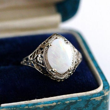 Marquise Opal Ring - Vintage Art Deco 14k White Gold Flower Filigree Gemstone - 1930s Size 5 3/4 Flower October Birthstone Gem Fine Jewelry