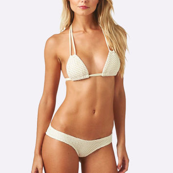 Solo Top x Nu Micro Bottom Bikini Separates (Bone/Crochet)