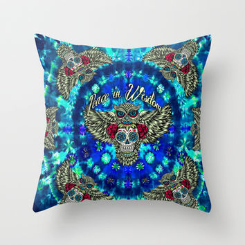 Peace in Wisdom Hippie tie dye owl pattern in blue.  Throw Pillow by Kristy Patterson Design