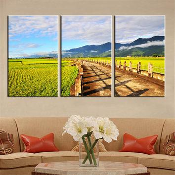 3 Piece Free Shipping Hot Sell Modern Wall Painting Mountain Path Home Decorative Art Picture Oil Paint on Canvas Prints