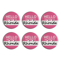Rhonda Hello My Name Is Plastic Resin Button Set of 6