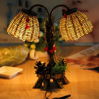 1pc Creative Design Vintage Retro Table Lamps Wood Personalized Desk Lamp With Lampshade Beside Home Decor Bedroom Living Room AB-11
