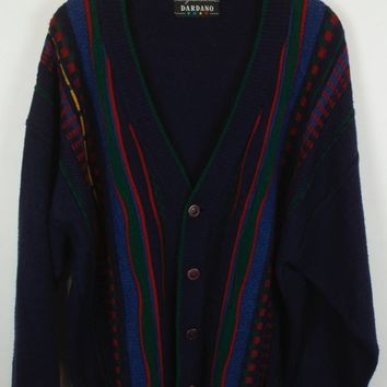 Vintage Cardigan, Vintage Knitwear, 80s, 90s, multicolor, coogi style, oversized, with wool