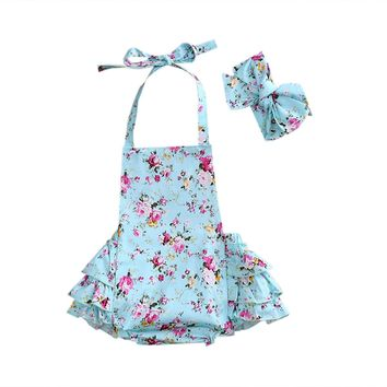 Summer Newborn Infant Baby Girls Floral Tiered Romper Jumpsuit Outfit Sunsuit Playsuit Belt Cotton Clothes