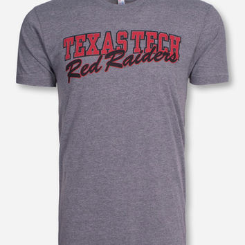 Texas Tech Block & Red Raiders Script on Heather Grey T-Shirt