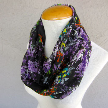 SALE - Abstract Floral Print Scarf - Black, Purple, Green and Orange Infinity Scarf - Modern Print Scarf