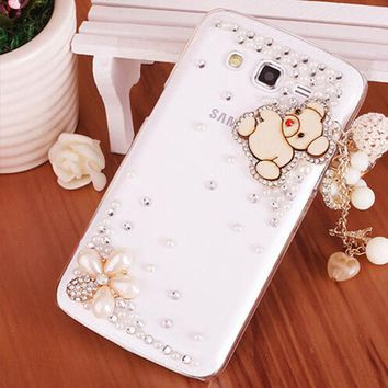 Luxury 3D Love Pendant bling diamond Mobile phone Shell Back Cover Hard Case For Samsung Galaxy Grand Prime Duos G530 H W G5308W