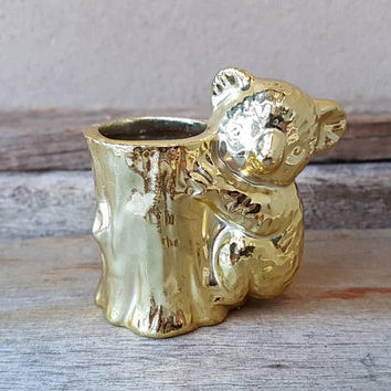 Vintage Koala Toothpick Holder , Gold Koala  , Vintage Kitchen  , Kitsch Koala  , Made In Japan