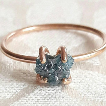 Rough Blue Diamond and Gold Fill Engagement Ring - Raw Diamond Ring - Blue Diamond Ring - Yellow Gold Ring - Rose Gold Ring - Something Blue