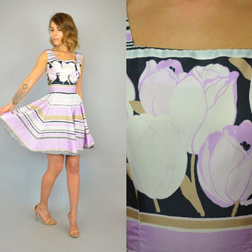 50's TULIP + STRIPED Twill Silk garden party full circle skirt Sleeveless Mini DRESS, small-medium