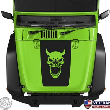 Demon Skull Hood Blackout Vinyl Decal Sticker fits: Jeep Wrangler JK TJ YJ