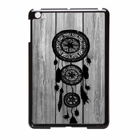 Hipster Vintage Black Dreamcatcher On Gray Wood iPad Mini Case