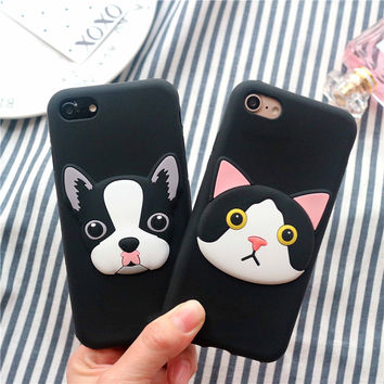 Valentine's day Gift! French Bulldog Cute Cat 3D Silicon Case for iPhone 7 7plus 6/6s Plus Cartoon Silicone Soft Capa for Lovers