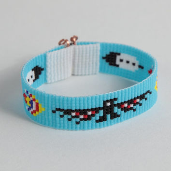 Native American Style Thunderbird Bead Loom Bracelet - Boho - Bohemian - Tribal Jewelry-Seed Beads - Beadweaving- Light Blue- Back to School