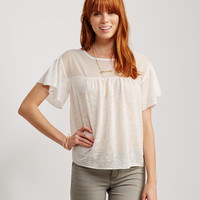 Sheer Slub-Knit Crepe Yoke Top