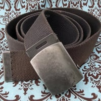 "Charcoal Gray Adults Military Slide Buckle Belt Men Women 1.5"" Wide"