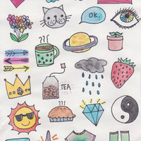 Fabulous Watercolor Stickers, Cute Notebook Stickers