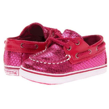 Sperry Kids Bahama Crib Infant Toddler Hot Pink Sequin Slip On Boat Shoes 3M