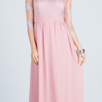 Illusion Mid Length Sleeves Long Formal Dress Empire Waist Blush