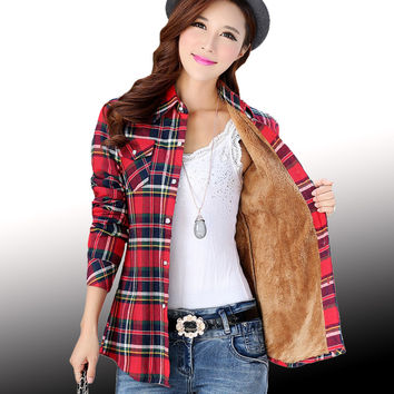 Thick velvet Blusas winter cotton long-sleeved women's plaid shirt flannel blouses feminina chemise femme camisas femenina tops