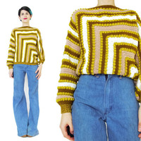 Vintage 1970s Striped Sweater Mustard  Patchwork Sweater Nubby Textured Sweater Womens Pullover Jumper Slouchy Boho Pom Pom Sweater (S/M)