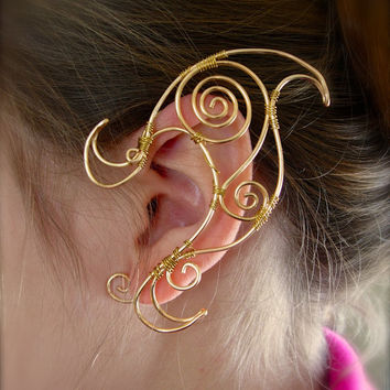 Gold Tone Pair of Elf Ear Cuffs, Very Fanciful Design, Joker Inspired Ear Wraps, Renaissance, Elven, Hobbit, Elf, Fantasy Ear Wraps