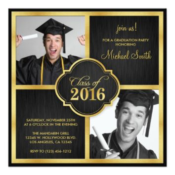 Elegant Black and Gold Modern Class of 2016 5.25x5.25 Square Paper Invitation Card