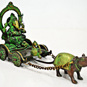 Antique Ganesha Rath Statue,Mouse pulling God Ganesh Cart, Ganesh Lucky Sculpture, Home decor Collectable Gift