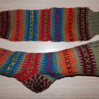 Turkish hand knit women's or men's winter warm and cozy socks.