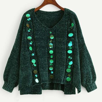 Plus Sequin Chenille Sweater Green