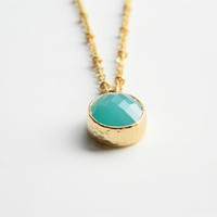 "Gold Necklace - Stone Necklace - Long Necklace - 24"" -  Mint Opaque Glass Stone Pendant on Matte Gold Chain"