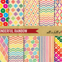 Digital Scrapbooking WONDERFUL RAINBOW Paper Pack RETRO Style with Instant Download
