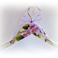 Floral Bride Hanger Personalized Hanger Bridesmaid Hanger Violets Hanger Wedding Gown Hanger Bride Hanger Dress Hanger Maid of Honor Gift