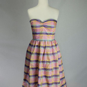 Vintage 1980's Pastel Strapless Dress Party Prom Pretty Pink Stripe ON SALE!