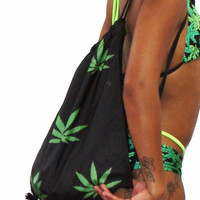 420 Marijuana Leaves Drawstring Bag