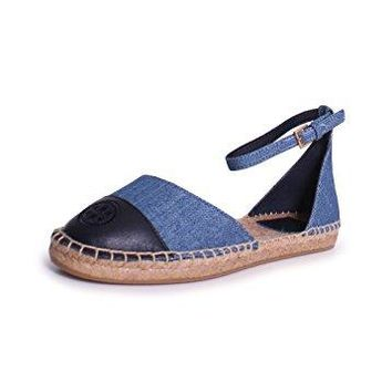 Tory Burch Color Block Ankle Strap Espadrille In Denim Chambray/Perfect Navy
