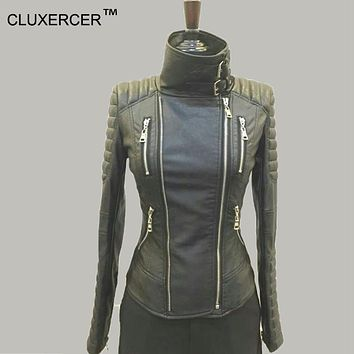 CLUXERCER Brand leather jacket women sleeve quilt motorcycle water washed faux leather outerwear bomber jacket suede jackets