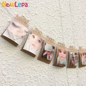 DIY Monthly Paper 1st One Year Photo Booth Birthday Banner String Flag Accesorios Photo Frame Photos Album Party Decoration
