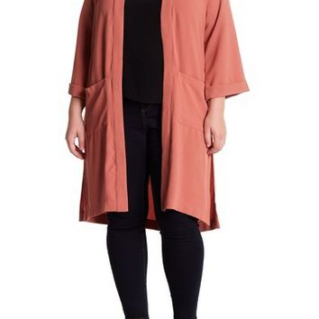 Bobeau | Slit Side Long Soft Woven Jacket (Plus Size) | Nordstrom Rack