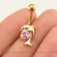 Dolphin Belly Button jewelry, Dolphin belly button ring,gold Navel Jewelry,bellyring friendship belly button jewelry