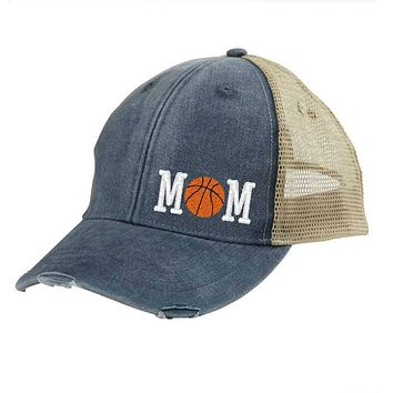 Basketball Mom Distressed Snapback - off-center