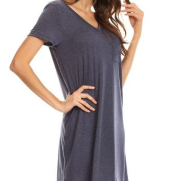 New!  Cross Back V-Neck Pocket T-Shirt Dress - Navy