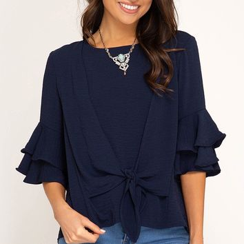 Layered Ruffle Sleeve Top with Front Tie - Navy