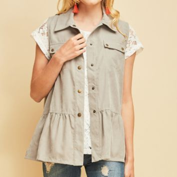 Women's Suede Military Vest with Embroidered Back