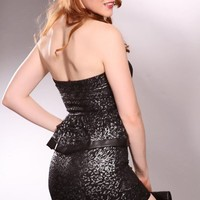 Silver Black Strapless Sweetheart Neckline Lace Overlay Peplum Sexy Dress