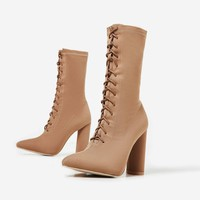 Christin Lace Up Block Heel Ankle Boot In Nude Knit
