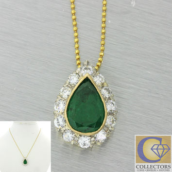 14k Solid Yellow Gold 2ct Pear Shape Green Emerald 1ctw Diamond Pendant Necklace