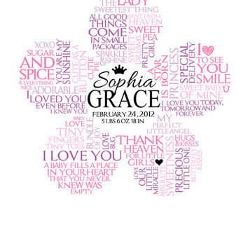 Personalized Baby Girl Flower Word Art For Nursery